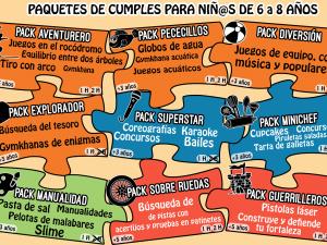 Packs de cumpleaños para niños de 6 a 8 años