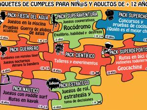 Packs de cumpleaños para niños y adultos de más de 12 años